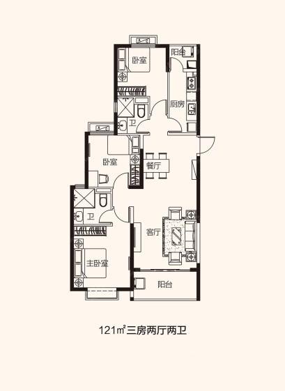 厦门恒大帝景 121平3房2厅2卫,3室2厅2卫,121.00平米(建面) - 户型图