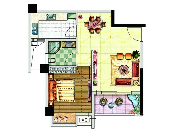 B1户型居室:1室1厅1卫0厨建筑面积:56.00㎡ - 户型图