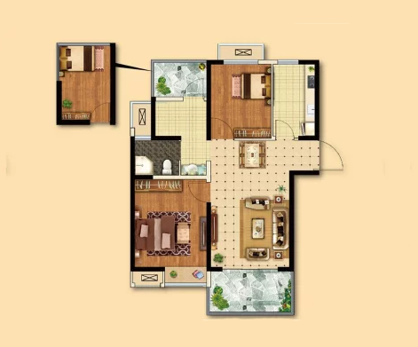 B1户型, 3室2厅1卫 - 户型图