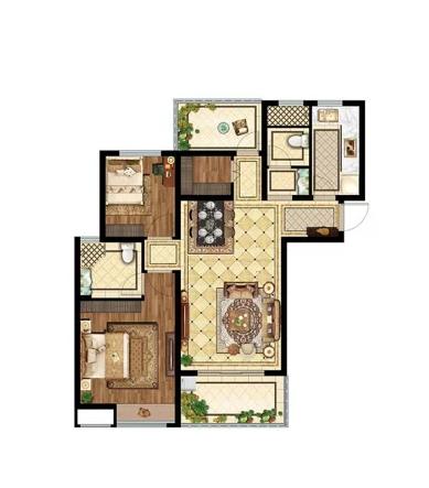3室2厅1卫2厨 - 户型图