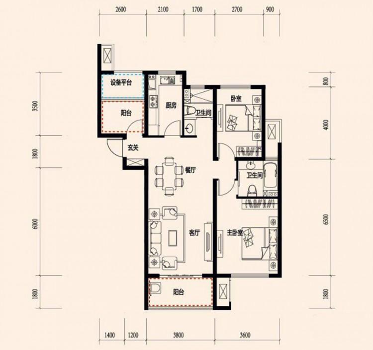 C3-3户型, 2室2厅1卫 - 户型图