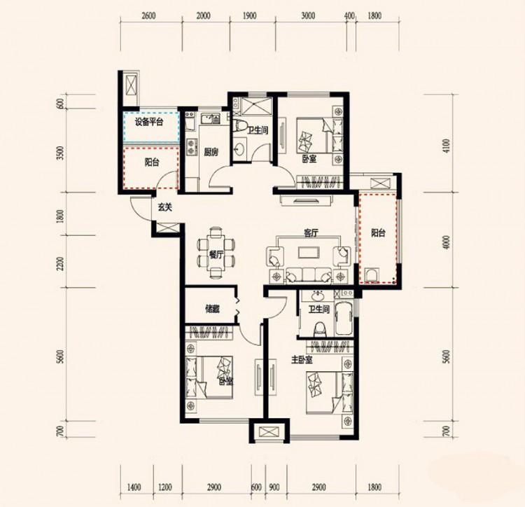 C3-4户型, 3室2厅2卫 - 户型图