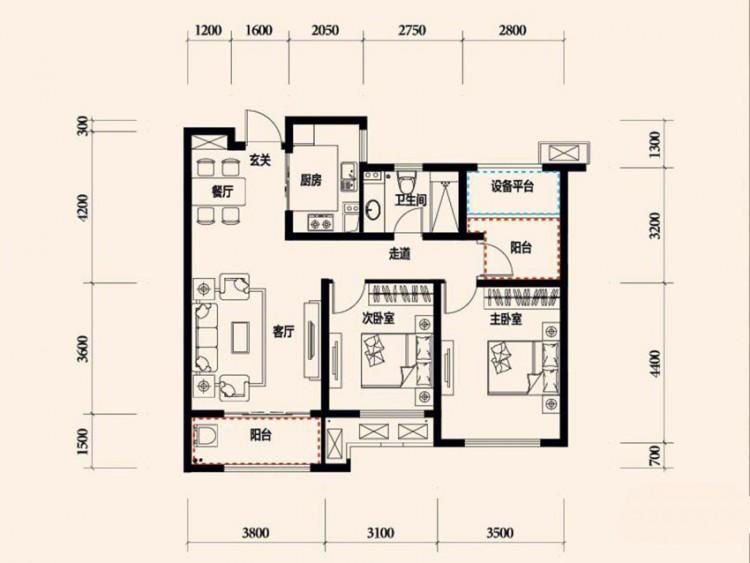 C3-2户型, 2室2厅1卫 - 户型图