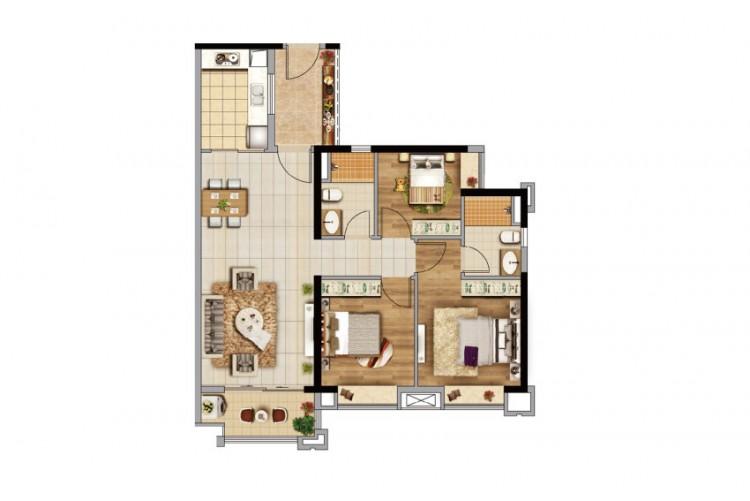 D2栋97㎡三房户型, 3室2厅1卫1厨 - 户型图