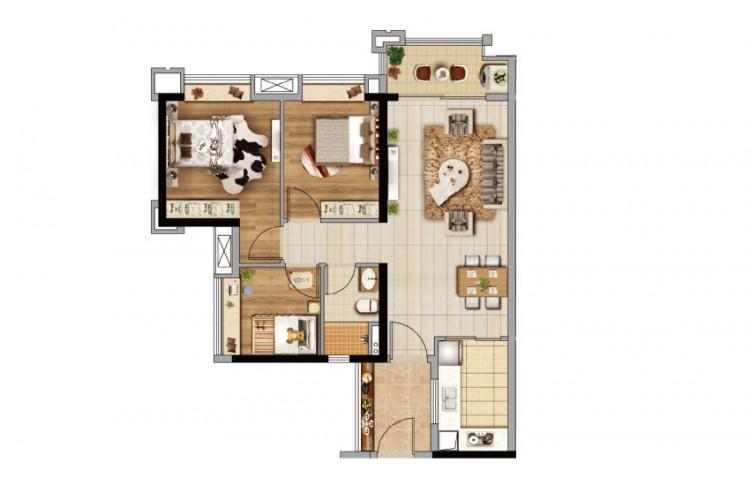 D2栋86㎡三房户型, 3室2厅1卫1厨 - 户型图