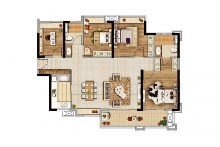 D2栋123㎡四房户型, 4室2厅2卫1厨 - 户型图