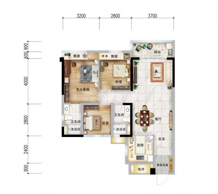 91㎡户型, 3室2厅2卫1厨 - 户型图