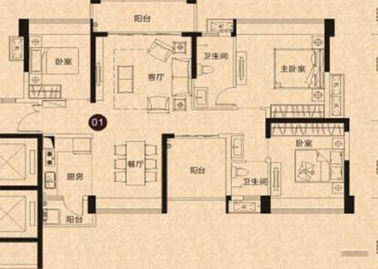 02户型, 4室2厅2卫1厨 - 户型图