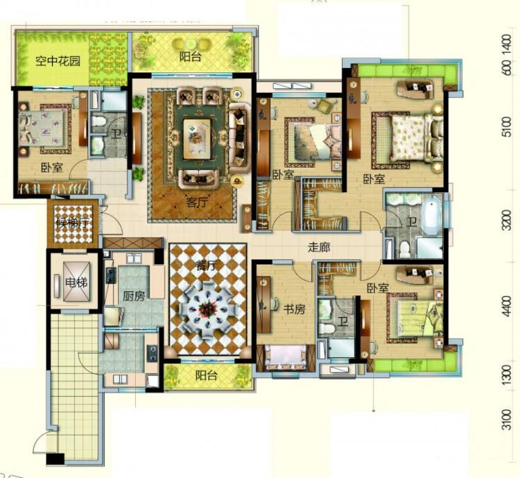 9、10、11座02单位, 5室2厅3卫1厨 - 户型图