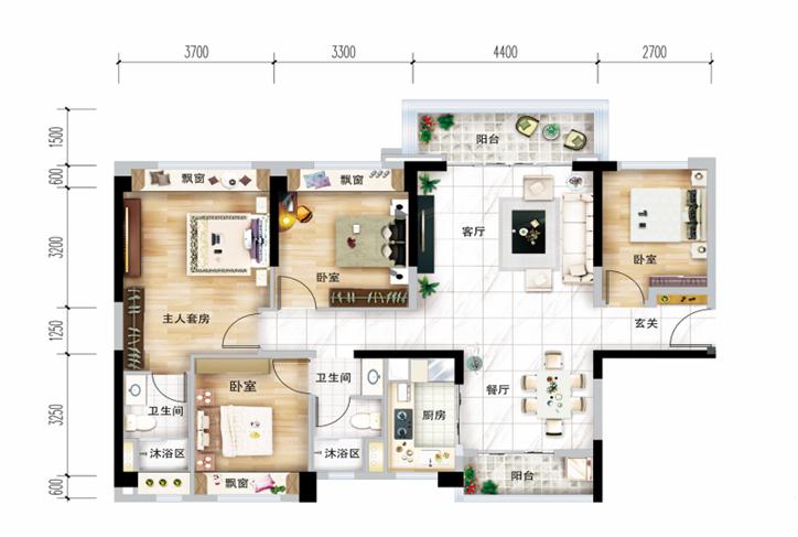 124㎡户型, 4室2厅2卫1厨 - 户型图