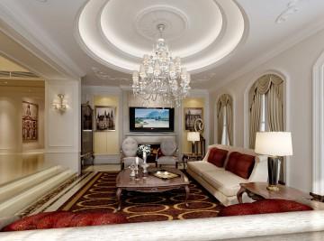 清新美式客厅效果图 - 装修案例效果图封面